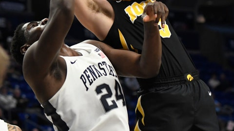 <p>               Iowa guard Jordan Bohannon (3) takes a shot over Penn State forward Mike Watkins (24) during the first half of an NCAA college basketball game Wednesday, Jan. 16, 2019, in State College, Pa. (AP Photo/John Beale)             </p>