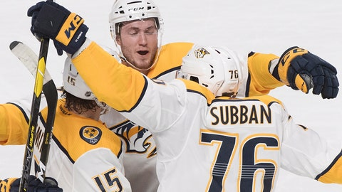 <p>               Nashville Predators' Craig Smith (15) celebrates with teammates P.K. Subban (76) and Colton Sissons (10) after scoring against the Montreal Canadiens during second-period NHL hockey action in Montreal, Saturday, Jan. 5, 2019. (Graham Hughes/The Canadian Press via AP)             </p>