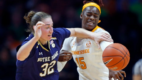 <p>               Notre Dame forward Jessica Shepard (32) competes for the ball with Tennessee forward Cheridene Green (15) during the second half of an NCAA college basketball game Thursday, Jan. 24, 2019, in Knoxville, Tenn. Notre Dame won 77-62. (AP Photo/Wade Payne)             </p>
