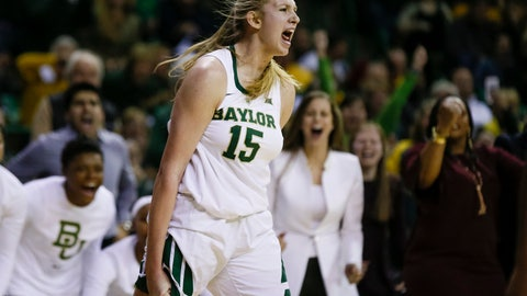 <p>               Baylor forward Lauren Cox (15) yells after making a basket and drawing a foul against Connecticut during the second half of an NCAA college basketball game Thursday, Jan. 3, 2019, in Waco, Texas. Baylor defeated No. 1 Connecticut 68-57. (AP Photo/Ray Carlin)             </p>