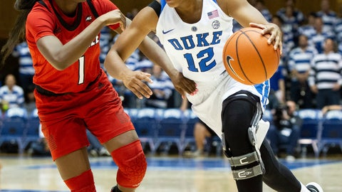 <p>               Duke's Mikayla Boykin (12) drives against Louisville's Dana Evans (1) during the second half of an NCAA college basketball game in Durham, N.C., Sunday, Jan. 6, 2019. (AP Photo/Ben McKeown)             </p>