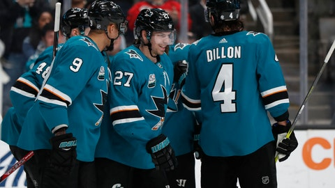 <p>               San Jose Sharks' Evander Kane (9) celebrates with Joonas Donskoi (27) who scored goal against the Los Angeles Kings in the first period of an NHL hockey game in San Jose, Calif., Monday, Jan. 7, 2019. (AP Photo/Josie Lepe)             </p>
