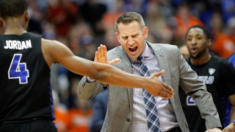 <p>               FILE - In this Tuesday, Dec. 18, 2018, file photo, Buffalo head coach Nate Oats celebrates with Buffalo's Davonta Jordan (4) late in the second half of an NCAA college basketball game against Syracuse in Syracuse, N.Y. Oats' fearless and unfiltered approach to basketball has Buffalo off to its best start in school history, and in position to secure their fourth NCAA Tournament berth in five years. (AP Photo/Nick Lisi, File)             </p>