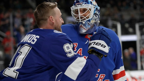<p>               Tampa Bay Lightning's Steven Stamkos, left, talks with New York Rangers' Henrik Lundqvist during the skills competition, part of the NHL hockey All-Star weekend, in San Jose, Calif., Friday, Jan. 25, 2019. (AP Photo/Ben Margot)             </p>