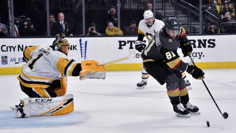 <p>               Vegas Golden Knights center Jonathan Marchessault (81) skates with the puck in front of Pittsburgh Penguins goaltender Casey DeSmith during the second period of an NHL hockey game Saturday, Jan. 19, 2019, in Las Vegas. (AP Photo/David Becker)             </p>