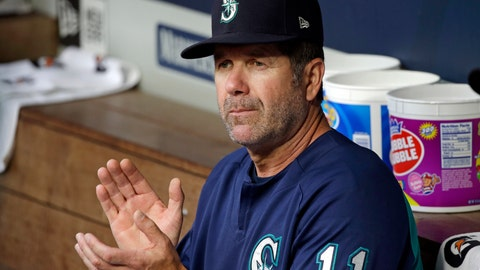 <p>               FILE - In this Aug. 10, 2017, file photo, Seattle Mariners hitting coach Edgar Martinez applauds in the dugout before a baseball game against the Los Angeles Angels in Seattle. Martinez, Mariano Rivera and Roy Halladay seem likely to be elected to baseball's Hall of Fame on Tuesday, Jan. 22, 2019. (AP Photo/Elaine Thompson)             </p>