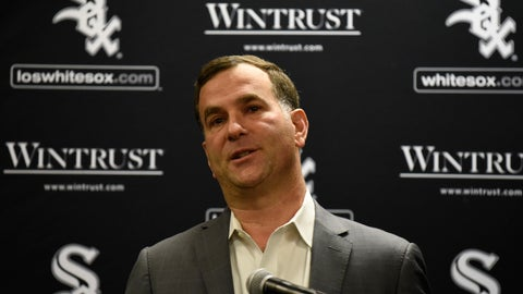 <p>               Chicago White Sox senior vice president and general manager Rick Hahn responds to a question during the baseball team's convention Friday, Jan. 25, 2019, in Chicago. (AP Photo/David Banks)             </p>