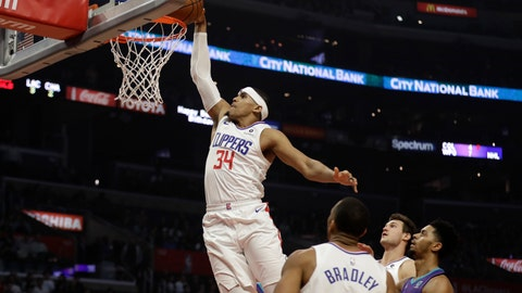 <p>               Los Angeles Clippers' Tobias Harris (34) dunks against the Charlotte Hornets during the first half of an NBA basketball game Tuesday, Jan. 8, 2019, in Los Angeles. (AP Photo/Marcio Jose Sanchez)             </p>