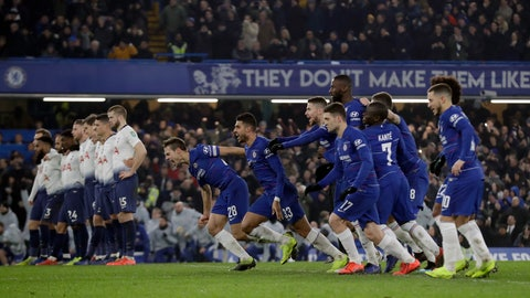 <p>               Chelsea players celebrate after Chelsea's David Luiz scores the winning penalty in a shootout at the end the second leg of the English League Cup semifinal soccer match between Chelsea and Tottenham Hotspur at Stamford Bridge stadium in London, Thursday, Jan. 24, 2019. (AP Photo/Matt Dunham)             </p>