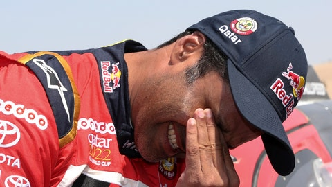 <p>               Toyota driver Nasser Al-Attiyah, of Qatar, gestures after winning the Dakar Rally at the arrival of the last stage in Pisco, Peru, Thursday, Jan. 17, 2019. (AP Photo/Ricardo Mazalan)             </p>