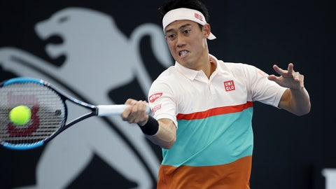 <p>               Kei Nishikori of Japan plays a shot during his match against Denis Kudla of the United States at the Brisbane International tennis tournament in Brisbane, Australia, Wednesday, Jan. 2, 2019. (AP Photo/Tertius Pickard)             </p>