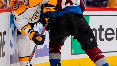 <p>               FILE - In this April 22, 2018, file photo, Nashville Predators' Austin Watson (51) slips past Colorado Avalanche center Nathan MacKinnon (29) during the second period in Game 6 of an NHL hockey first-round playoff series in Denver. Watson says the arrest last year that led to his 18-game suspension came when he started drinking again after 23 months of sobriety. (AP Photo/Jack Dempsey, File)             </p>