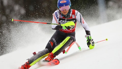 <p>               United States' Mikaela Shiffrin speeds down the course during the first run of a women's World Cup slalom, in Zagreb, Croatia, Saturday, Jan. 5, 2019. (AP Photo/Marco Trovati)             </p>