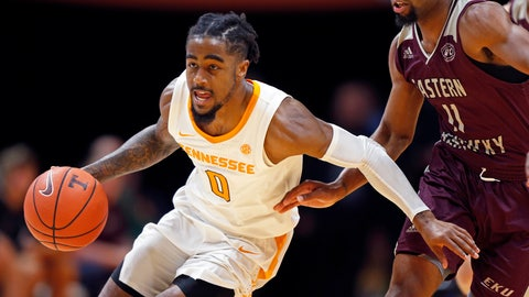 <p>               FILE - In this Nov. 28, 2018, file photo, Tennessee guard Jordan Bone (0) drives past Eastern Kentucky guard Jomaru Brown (11) during an NCAA college basketball game in Knoxville, Tenn. For a guy whose game is built on speed, Bone has required plenty of patience in his slow but steady emergence as one of the Southeastern Conference's top point guards. (AP Photo/Wade Payne, File)             </p>