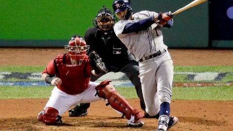 <p>               FILE - In this Oct. 13, 2018, file photo, Houston Astros' Carlos Correa, right, watches his RBI-single against the Boston Red Sox during the sixth inning in Game 1 of a baseball American League Championship Series in Boston. Houston shortstop Correa and Washington Nationals outfielder Michael A. Taylor became the first players of the year to go to salary arbitration hearings. (AP Photo/Elise Amendola, File)             </p>