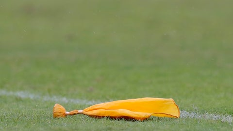 <p>               FILE - In this Dec. 16, 2018, file photo, an official's flag sits on the field in the second half of an NFL football game between the Baltimore Ravens and the Tampa Bay Buccaneers, in Baltimore. Complaining about officials is a time-honored tradition that goes back to the days coaches _ and fans _ saw things only as they actually happened, without the benefit of super slow motion replays that at times get more study than the Zapruder tapes of the Kennedy assassination. (AP Photo/Carolyn Kaster, File)             </p>