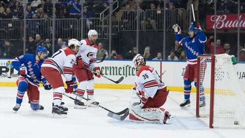 <p>               New York Rangers right wing Pavel Buchnevich, left, scores a goal past Carolina Hurricanes goaltender Curtis McElhinney (35) during the second period of an NHL hockey game Tuesday, Jan. 15, 2019, at Madison Square Garden in New York. (AP Photo/Mary Altaffer)             </p>