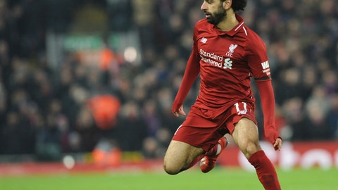 <p>               Liverpool's Mohamed Salah controls the ball during the English Premier League soccer match between Liverpool and Crystal Palace at Anfield in Liverpool, England, Saturday, Jan. 19, 2019. (AP Photo/Rui Vieira)             </p>