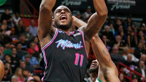 <p>               Miami Heat guard Dion Waiters (11) goes up against Boston Celtics guard Marcus Smart (36) during the first half of an NBA basketball game, Thursday, Jan. 10, 2019, in Miami. (AP Photo/Joel Auerbach)             </p>
