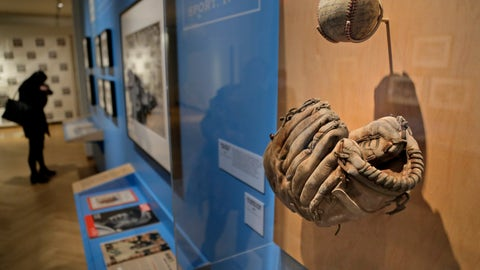 "<p>               In this Tuesday, Jan. 29, 2019 photo, a glove used by Brooklyn Dodgers baseball player Jackie Robinson is displayed at the exhibit ""In the Dugout with Jackie Robinson: An Intimate Portrait of a Baseball Legend"" at the Museum of City of New York in New York. The 100th anniversary of Robinson's birth is celebrated Thursday, Jan. 31, with the opening of the exhibit.   (AP Photo/Seth Wenig)             </p>"