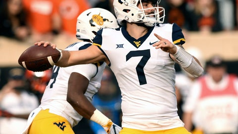 <p>               File-This Nov. 17, 2018, file photo shows West Virginia quarterback Will Grier throwing a pass during the first half of an NCAA college football game in Stillwater, Okla. NFL scouts, coaches and prospects have gathered in Mobile, Alabama, for the Senior Bowl. The game for top senior NFL prospects and junior graduates will feature quarterbacks like Missouri's Drew Lock, Grier and Duke's Daniel Jones. (AP Photo/Brody Schmidt, File)             </p>
