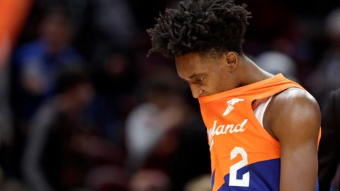 <p>               Cleveland Cavaliers' Collin Sexton walks off the court after the New Orleans Pelicans defeated the Cavaliers in an NBA basketball game, Saturday, Jan. 5, 2019, in Cleveland. (AP Photo/Tony Dejak)             </p>