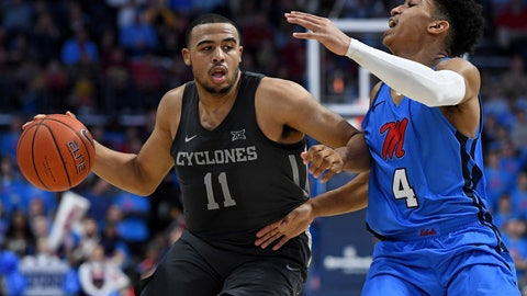 <p>               Iowa State guard Talen Horton-Tucker (11) drives the ball past Mississippi guard Breein Tyree (4) during the second half of an NCAA college basketball game in Oxford, Miss., Saturday, Jan. 26, 2019. Iowa State won 87-73. (AP Photo/Thomas Graning)             </p>