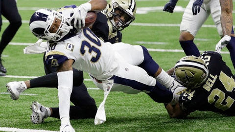 <p>               Los Angeles Rams' Todd Gurley dives into the end zone for a touchdown during the first half the NFL football NFC championship game against the New Orleans Saints, Sunday, Jan. 20, 2019, in New Orleans. (AP Photo/David J. Phillip)             </p>