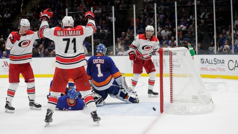 <p>               Carolina Hurricanes' Lucas Wallmark (71) celebrates with teammates after a shot by Jaccob Slavin got past New York Islanders goaltender Thomas Greiss (1) for a goal during the third period of an NHL hockey game Tuesday, Jan. 8, 2019, in New York. The Hurricanes won 4-3. (AP Photo/Frank Franklin II)             </p>