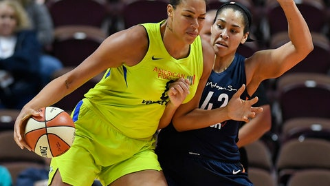 <p>               FILE - In this May 8, 2018, file photo, Dallas Wings' Liz Cambage, left, drives against Connecticut Sun's Brionna Jones during a preseason WNBA basketball game in Uncasville, Conn. Cambage has asked to be traded, according to reports, Tuesday, Jan. 22, 2019. (AP Photo/Jessica Hill, File)             </p>