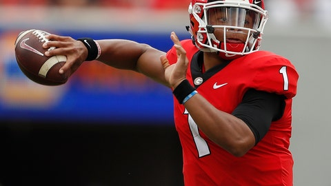 <p>               FILE - In this Sept. 15, 2018, file photo, Georgia quarterback Justin Fields (1) throws a pass in the first half of an NCAA college football game against Middle Tennessee, in Athens, Ga. Fields may be getting closer to transferring to Ohio State. Fields, the overall No. 2 national prospect in the 2018 recruiting class, was expected to visit the Ohio State campus on Friday, Jan. 4, 2019, according to a source close to the situation who spoke on the condition of anonymity because no transfer has been finalized. (AP Photo/John Bazemore, File)             </p>