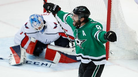 <p>               Dallas Stars center Tyler Seguin (91) celebrates after scoring the winning goal against Washington Capitals goaltender Pheonix Copley (1) during overtime play in an NHL hockey game in Dallas, Friday, Jan. 4, 2019. (AP Photo/LM Otero)             </p>