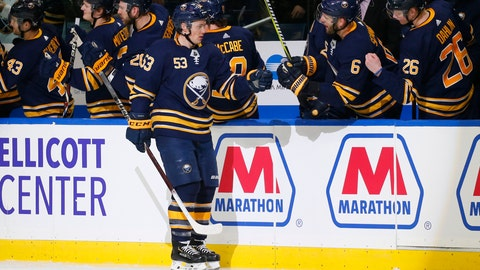 <p>               Buffalo Sabres forward Jeff Skinner (53) celebrates his goal during the second period of an NHL hockey game against the New Jersey Devils, Tuesday, Jan. 8, 2019, in Buffalo N.Y. (AP Photo/Jeffrey T. Barnes)             </p>