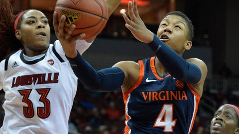 <p>               Virginia guard Dominique Toussaint (4) goes in for a layup past Louisville forward Bionca Dunham (33) during the first half of an NCAA college basketball game in Louisville, Ky., Thursday, Jan. 17, 2019. (AP Photo/Timothy D. Easley)             </p>