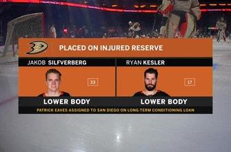 Jakob Silfverberg, Ryan Kesler placed on injured reserve