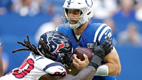 <p>               FILE - In this Sept. 30, 2018, file photo, Indianapolis Colts quarterback Andrew Luck (12) is sacked by Houston Texans' Jadeveon Clowney (90) during the first half of an NFL football game, in Indianapolis. Some juicy rematches highlight wild-card weekend, in which, well, just about any of the eight teams advancing wouldn't be a surprise. Seattle beat Dallas early this season, and Baltimore handled the Los Angeles Chargers late. The Colts and Texans split two games. Only the Eagles and Bears didn't face off. (AP Photo/Michael Conroy, File)             </p>