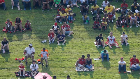 <p>               File-This July 27, 2017, file photo shows Atlanta Falcons fans watching during NFL football training camp in Flowery Branch, Ga. The Atlanta Falcons have cleared out of their practice facility and given the keys to the Los Angeles Rams for the week. The Falcons are determined to be good hosts to the Rams, who are using the facility as their practice site for Sunday's Super Bowl 53. (AP Photo/John Bazemore, File)             </p>