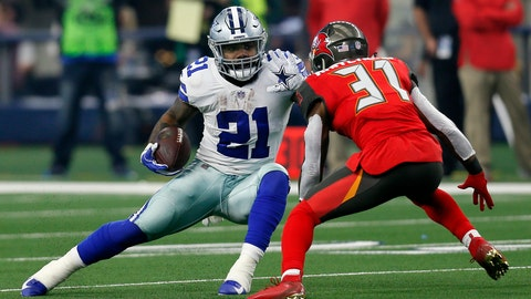 <p>               FILE - In this Sunday, Dec. 23, 2018 file photo, Dallas Cowboys running back Ezekiel Elliott (21) attempts to evade a tackle by Tampa Bay Buccaneers safety Jordan Whitehead (31) after Elliott caught a pass in the first half time of an NFL football game in Arlington, Texas. Ezekiel Elliott won his second NFL rushing title in three seasons for a Dallas offense that has been defined by the ground game for several years now. (AP Photo/Roger Steinman, File)             </p>