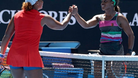 <p>               United States' Sloane Stephens, right, is congratulated by compatriot Taylor Townsend after winning their first round match at the Australian Open tennis championships in Melbourne, Australia, Monday, Jan. 14, 2019. (AP Photo/Kin Cheung)             </p>