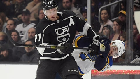<p>               Los Angeles Kings center Jeff Carter, left, hits St. Louis Blues defenseman Alex Pietrangelo during the second period of an NHL hockey game Monday, Jan. 21, 2019, in Los Angeles. (AP Photo/Mark J. Terrill)             </p>