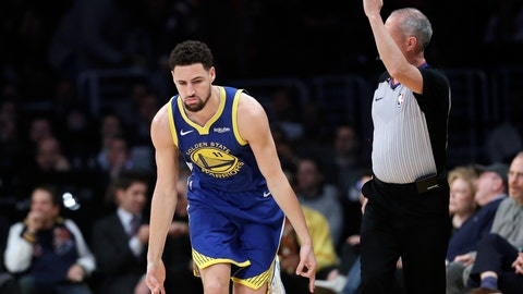 <p>               Golden State Warriors' Klay Thompson reacts after making a 3-point basket against the Los Angeles Lakers during the first half of an NBA basketball game, Monday, Jan. 21, 2019, in Los Angeles. (AP Photo/Marcio Jose Sanchez)             </p>