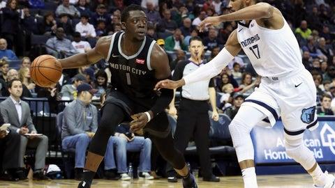 <p>               Detroit Pistons Reggie Jackson (1) looks for an opening as Memphis Grizzlies Garrett Temple guards him in the first half of an NBA basketball game Wednesday, Jan. 2, 2019, in Memphis, Tenn. (AP Photo/Karen Pulfer Focht)             </p>