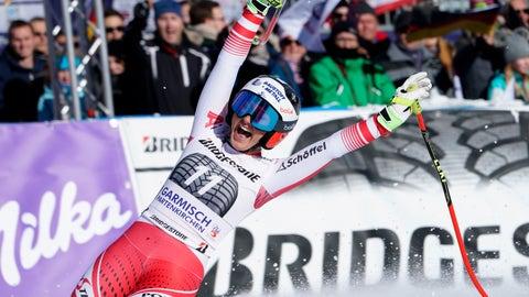 <p>               The winner, Austria's Stephanie Venier, reacts at finish line after completing an alpine ski, women's World Cup downhill race in Garmisch-Partenkirchen, Germany, Sunday, Jan. 27, 2019. (AP Photo/Giovanni Auletta)             </p>
