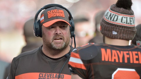 <p>               FILE - In this Nov. 4, 2018, file photo, Cleveland Browns offensive coordinator Freddie Kitchens talks to quarterback Baker Mayfield during an NFL football game against the Kansas City Chiefs, in Cleveland. A person familiar with the decision says the Cleveland Browns are hiring Freddie Kitchens as their coach.  Kitchens, who had a dazzling eight-week run as the team's interim offensive coordinator, is finalizing his contract and will be named Cleveland's ninth coach since 1999, said the person who spoke Wednesday, Jan. 9, 2019, to the Associated Press on condition of anonymity because the team is not commenting on the imminent hire. (AP Photo/David Richard, File)             </p>