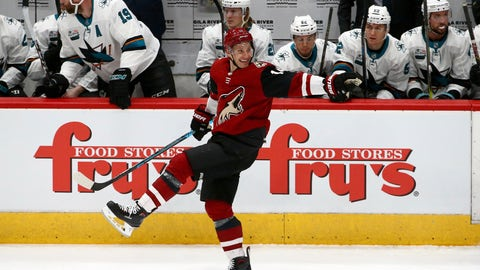 <p>               Arizona Coyotes right wing Richard Panik celebrates his goal against the San Jose Sharks during the first period of an NHL hockey game Wednesday, Jan. 16, 2019, in Glendale, Ariz. (AP Photo/Ross D. Franklin)             </p>
