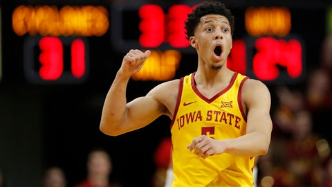 <p>               Iowa State guard Lindell Wigginton reacts after making a 3-point basket during the first half of the team's NCAA college basketball game against West Virginia, Wednesday, Jan. 30, 2019, in Ames, Iowa. (AP Photo/Charlie Neibergall)             </p>