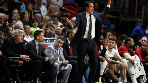 <p>               Miami Heat head coach Erik Spoelstra gestures toward players during the first half of an NBA basketball game against the Los Angeles Clippers, Wednesday, Jan. 23, 2019, in Miami. (AP Photo/Brynn Anderson)             </p>