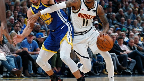 <p>               FILE--In this Tuesday, Jan. 15, 2019, file photograph, Denver Nuggets guard Monte Morris, right, drives past Golden State Warriors guard Stephen Curry in the second half of an NBA basketball game Tuesday, Jan. 15, 2019, in Denver. (AP Photo/David Zalubowski, File)             </p>
