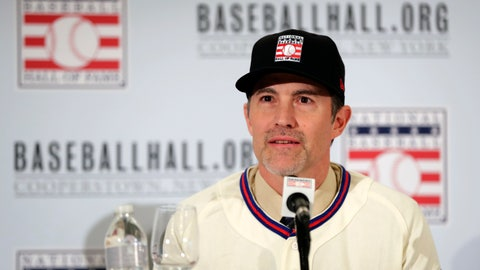 <p>               Baseball Hall of Fame inductee Mike Mussina speaks during news conference Wednesday, Jan. 23, 2019, in New York. (AP Photo/Frank Franklin II)             </p>