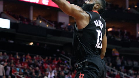 <p>               Houston Rockets guard James Harden (13) drives to the basket past Cleveland Cavaliers guard Collin Sexton, right, during the first half of an NBA basketball game Friday, Jan. 11, 2019, in Houston. (AP Photo/Eric Christian Smith)             </p>